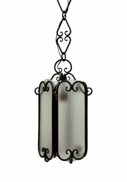 Lantern, Fer Forge with Frosted Glass Windows