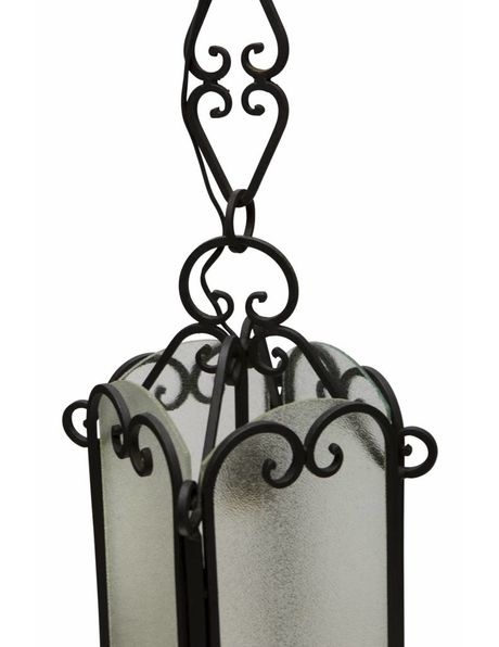 Lantern, black wrought iron inlaid with glass, 1930s