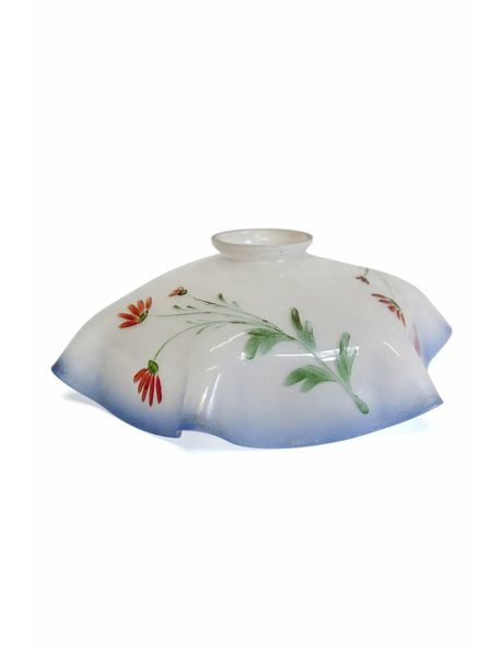 White glass lampshade with red flower