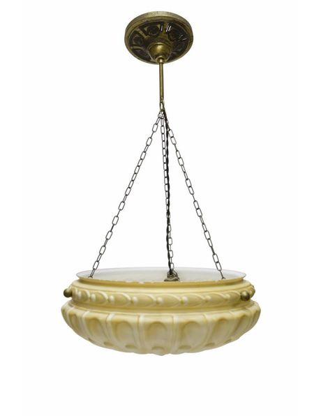 Hanglamp, grote schaalvormige glazen hanglamp, ca. 1940