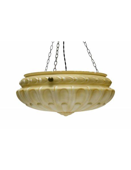Hanging lamp, large bowl-shaped glass hanging lamp, 1940s