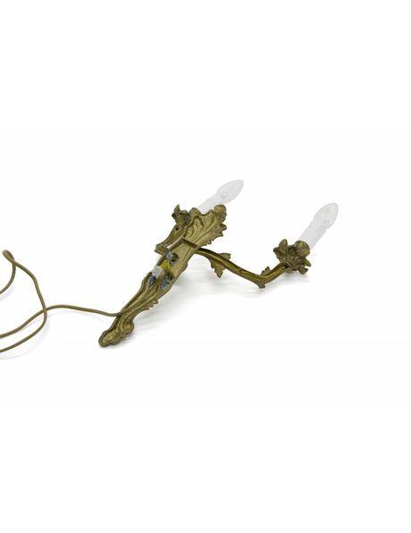 Klassieke wandlamp, koperen toortsen, ca 1940