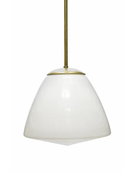 Industrial pendant lamp in the colours white and gold, 1940s