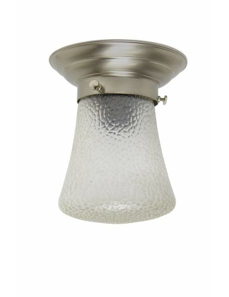 Stylish ceiling lamp, glass shade with leather pattern