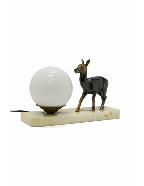 Table lamp with deer on a stone base, 1930s