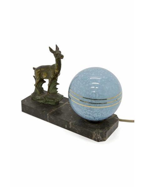 Brocante tafellamp met brons hert, ca. 1930