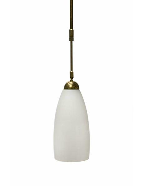 Lange hanglamp, wit glas aan goud kleurige pendel, ca. 1960