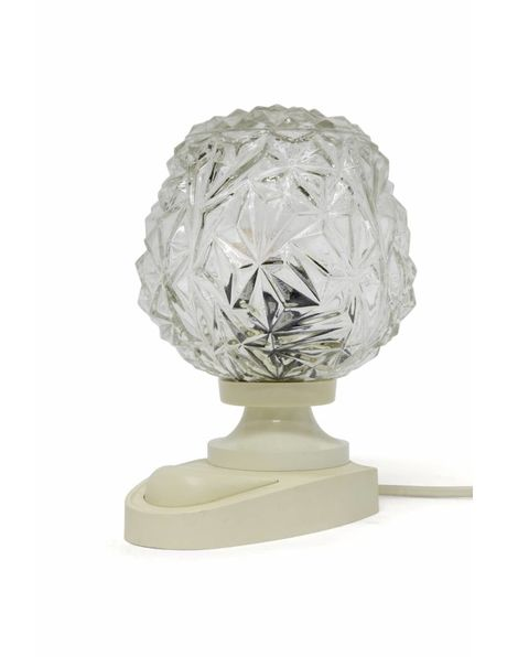 Bedside lamp, retro, white plastic with glass sphere, 1960s