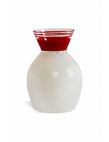 Design lampenkapje, kleur verdeling wit/rood, ca. 1950