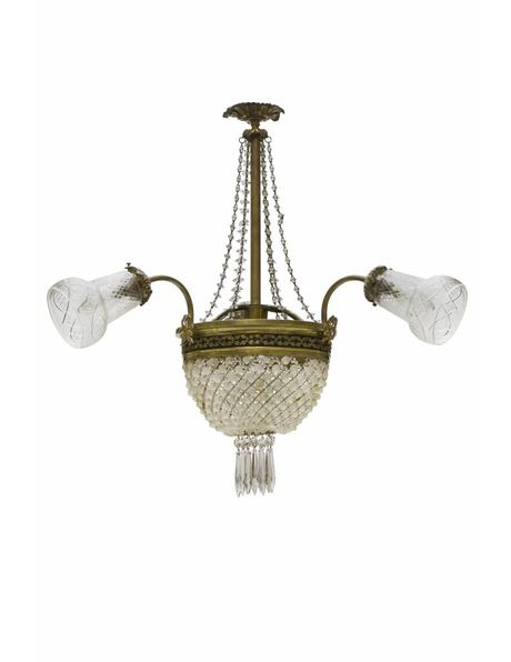 Pocket chandelier in crystal and copper with 3 arms, 1930s