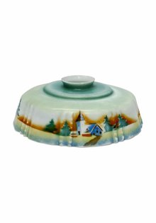 Brocante Lampshade, Church and Coniferous Trees