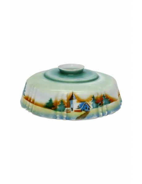 Old-fashioned lampshade, with a church and various pine trees