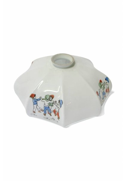 White Glass Lampshade with Painting of Children Playing