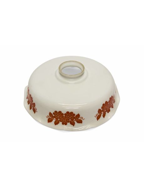 White glass lampshade from the 1920s, decorated with red flowers