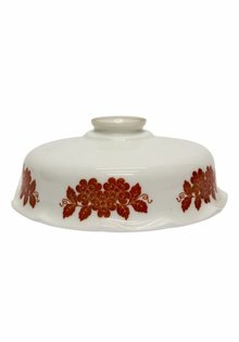 White Glass Lampshade, with Red Flowers, 1920s