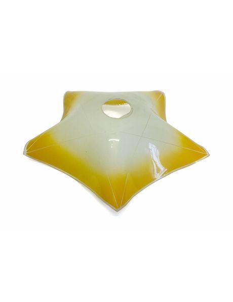 5 Puntige wit-geel glazen lampenkap uit de jaren 40