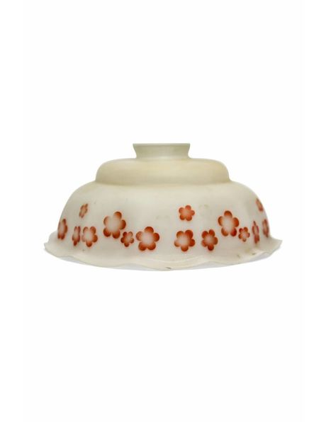 Old-fashioned glass lampshade with a red flower border, 1920s