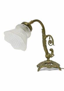 Brocante Tafellamp, Opengewerkt Koper