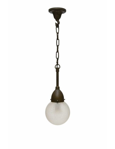 Spherical hanging lamp made of frosted glass with large copper fixture, 1940s