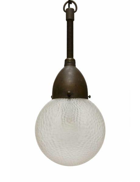 Bol hanglamp van matglas  met groot koperen armatuur, ca. 1940