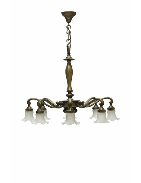 Large hanging lamp with bronze fixture and 8 arms, each with a skirt, 1950s