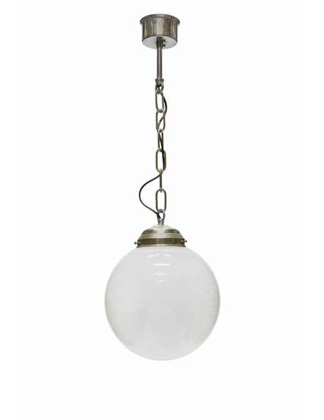 Hanging lamp glass, globe on chain, 1950s