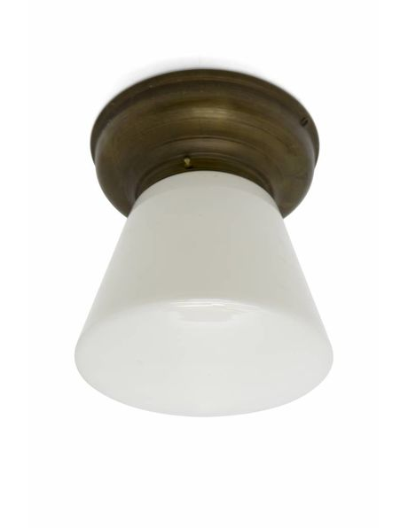 Industrial ceiling lamp white lampshade with conical shape, 1940s
