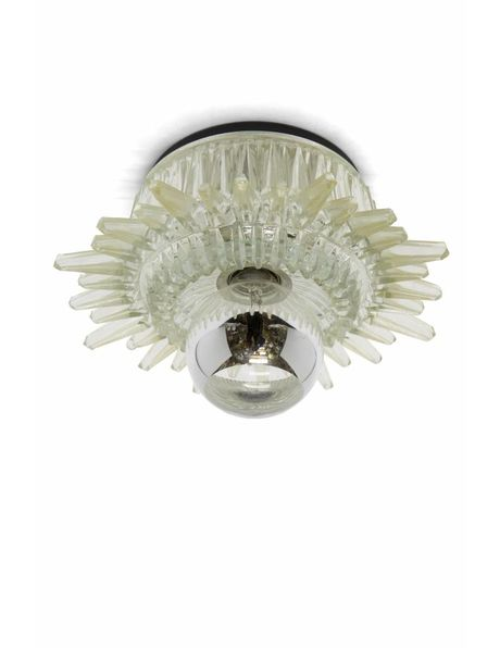 Brocante ceiling lamp with open shade in the shape of the sun, 1950s