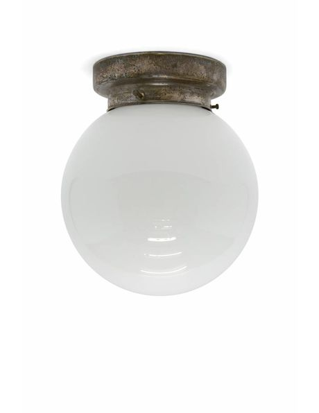 Tough ceiling lamp with spherical glass lampshade, 1940s