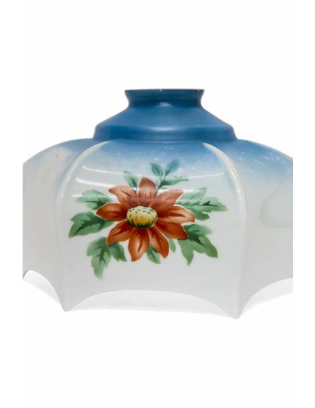 Kitchen lampshade in the colours blue and white with red flower, ca. 1930