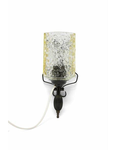 Retro wandlampje, zwarte metalen frame, ca. 1970