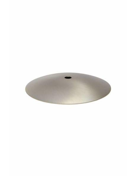 Afdekplaat, mat zilverkleur, 12.5 cm diameter, vrij plat