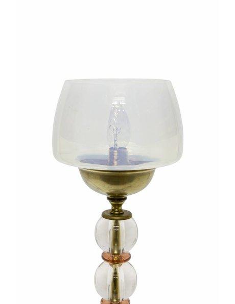 Vintage tafellamp met aparte voet van metaal en glas, ca. 1950