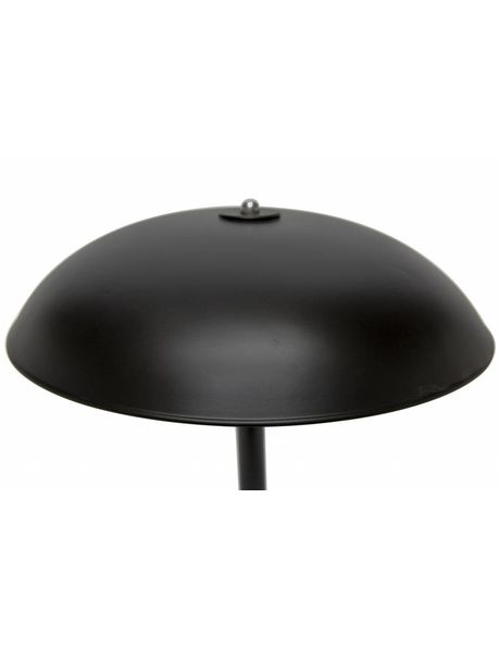 Black metal desk lamp with spherical shade, 1950s