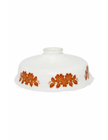 Round lampshade, opal glass with red flowers, ca.1940