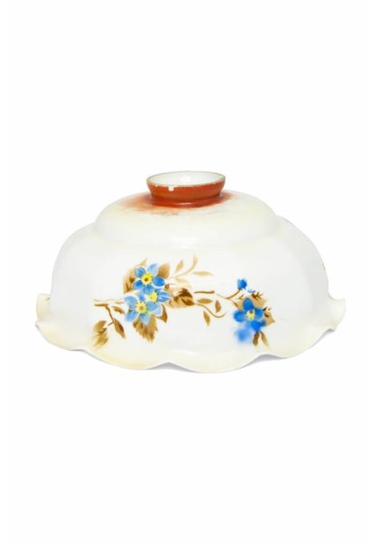 Antique Glass Lampshade, Blue Flowers