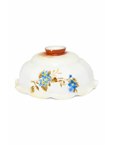 White glass lampshade with blue flowers, 1930s