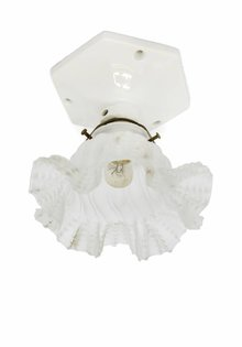 Antique Ceiling Lamp with Glass Skirt, 1940s