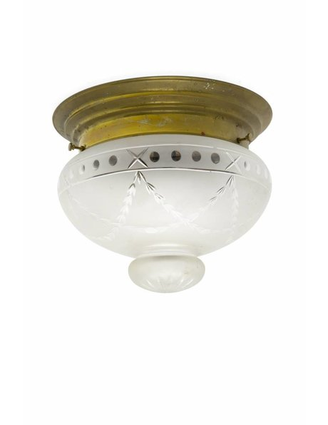 Antique ceiling lamp, 1930s, gracefully cut glass