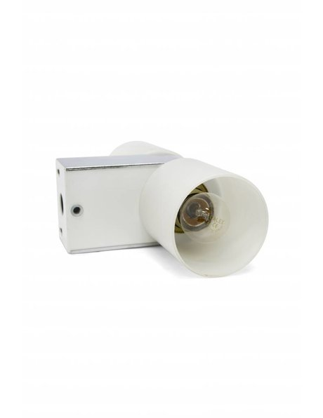 Retro wall lamp, white glass, chrome fitting
