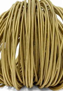 Lamp Wire, Fabric Cover, Round, Gold, 3-Core