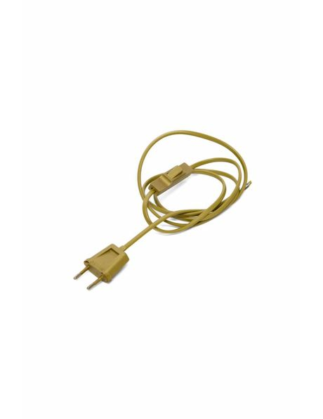 Gold coloured electrical wire with switch and power plug