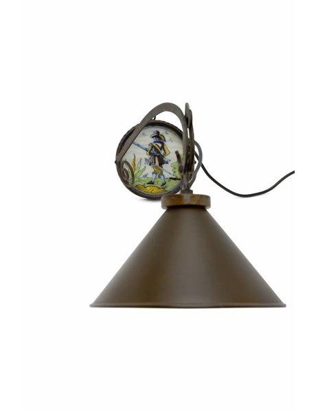 Wrought iron wall lamp, brown shade, 1960s