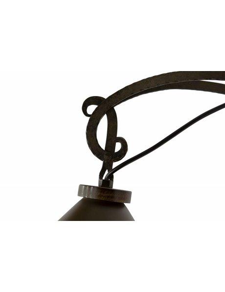 Smeedijzeren wandlamp, bruine kap, jaren 60