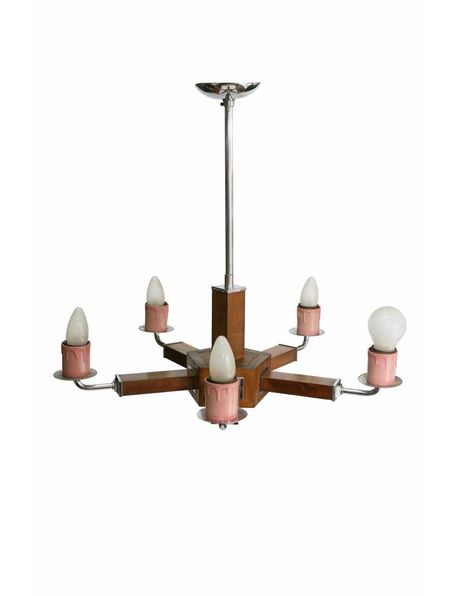 Special chandelier, chrome with wood, 1950s