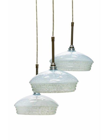Cascade hanglamp met 3 ronde lampenkappen, ca. 1960