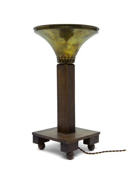 Art Deco Table Lamp, Wood with Copper