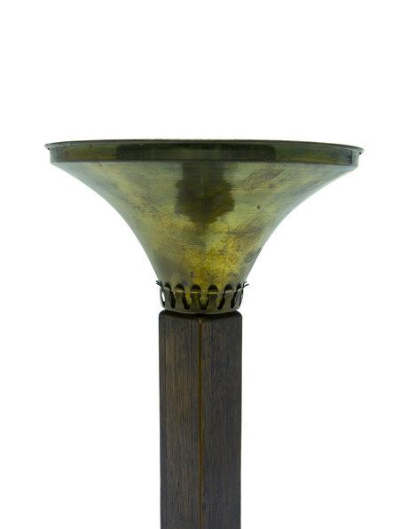 Oude tafellamp in Art Deco stijl met koperen lampenkap, ca. 1950