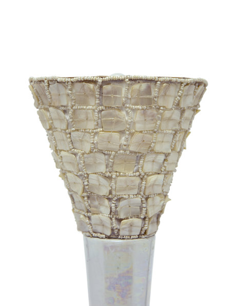 Retro Ceramic Table Lamp, Mother-Of-Pearl Shade, 1960s