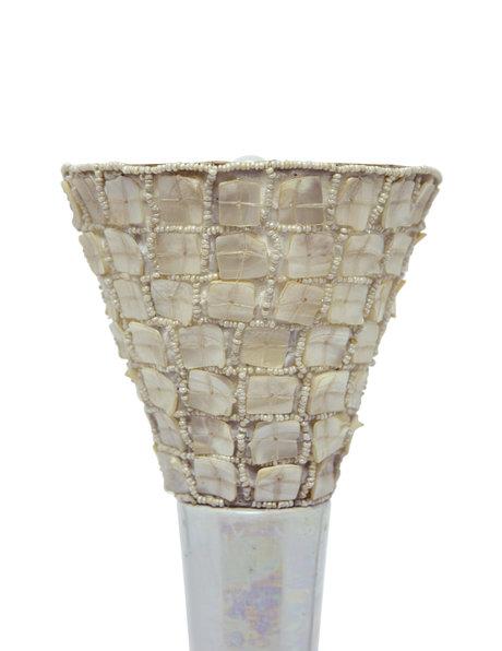 Retro tafellamp van keramiek, kapje parelmoer, ca. 1960
